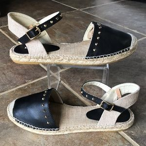 DUNE LONDON Black Tan Espadrille Sandals Size 9